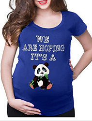 cheap -Women's Blouse Maternity Animal Letter Tops Round Neck Daily Summer White Black Blue S M L XL 2XL 3XL
