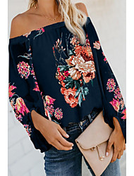 cheap -Women's Blouse Shirt Floral Flower Long Sleeve Off Shoulder Tops Basic Top White Khaki Navy Blue