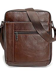 cheap -Men's Bags Genuine Leather Shoulder Messenger Bag Crossbody Bag Zipper Leather Bag Office & Career Black Brown