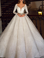 cheap -Ball Gown A-Line Wedding Dresses Scoop Neck Sweep / Brush Train Satin Tulle Long Sleeve Formal with Beading 2020