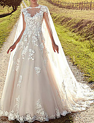cheap -A-Line Wedding Dresses Jewel Neck Sweep / Brush Train Lace Tulle Cap Sleeve Formal Sexy Backless Cape with Embroidery Appliques 2021