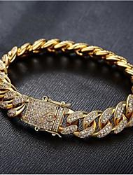 cheap -Men's White Bracelet Cuban Link Weave Trendy Alloy Bracelet Jewelry Gold / Silver For Party Evening