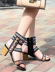 cheap -Women's Sandals Summer Cuban Heel Peep Toe Daily PU Black