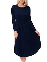 cheap -Women's A-Line Dress Knee Length Dress - Long Sleeve Solid Color Summer Work 2020 Black Dusty Blue S M L XL XXL