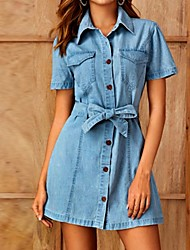 cheap -Women's Denim Shirt Dress Short Mini Dress Light Blue Short Sleeve Solid Color Summer Shirt Collar Hot Casual 2021 S M L XL XXL