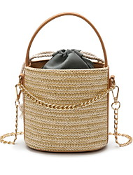 cheap -Women's Zipper Straw Crossbody Bag Solid Color Black / Khaki / Beige