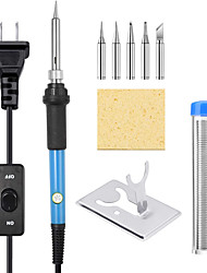 cheap -Soldering Iron Kit Upgraded 60W Adjustable Temperature Welding Tool with ON-Off Switch Rarlight 9-in-1 Soldering Kits 5pcs Soldering Iron Tips Solder Wire Y Type Soldering Iron Stand (Blue)