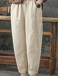 cheap -Women's Basic Daily Loose Chinos Pants - Solid Colored Blue Khaki Green S / M / L