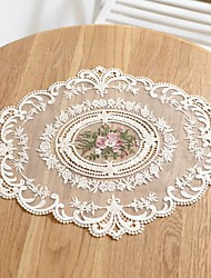 cheap -Placemat polyester fibre Flower Embroidery Floral Tabel cover Table decorations for Daily Desk Round 42*32 cm White 1 pcs