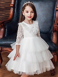cheap -Princess / Ball Gown Knee Length Wedding / Party Flower Girl Dresses - Tulle 3/4 Length Sleeve Jewel Neck with Bow(s) / Beading / Cascading Ruffles