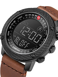 cheap -KADEMAN Men's Sport Watch Digital Modern Style Sporty Casual Water Resistant / Waterproof Digital Black Brown Coffee / Genuine Leather / Calendar / date / day / Noctilucent / Genuine Leather
