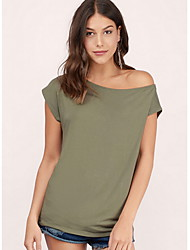 cheap -Women's Solid Colored T-shirt Daily Black / Army Green