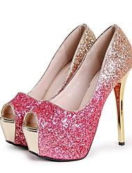 cheap -Women's Heels Summer Stiletto Heel Peep Toe Daily Synthetics Black / Fuchsia / Gold