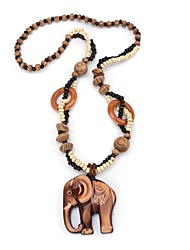 cheap -Women's Pendant Necklace Elephant Wooden Brown 64 cm Necklace Jewelry For