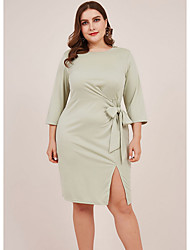 cheap -Women's Sheath Dress Knee Length Dress - 3/4 Length Sleeve Solid Color Summer Elegant 2020 Green XXL XXXL