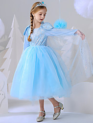 cheap -Princess Elsa Dress Flower Girl Dress Girls' Movie Cosplay A-Line Slip Vacation Dress Blue Dress Carnival Children's Day Masquerade Polyester