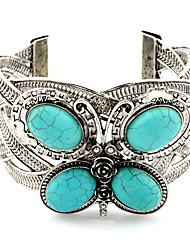 cheap -Women's Turquoise Cuff Bracelet Classic Butterfly Statement Alloy Bracelet Jewelry Silver For Festival