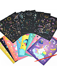cheap -Drawing Toy Scratch Art Set Magic Scratch Paper Unicorn Cartoon Animal Rainbow Pure Paper Painting Creative Kid's Boys and Girls for Birthday Gifts or Party Favors