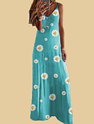cheap -Women's A-Line Dress Maxi long Dress - Sleeveless Floral Summer Casual 2020 Wine Blue Purple Yellow Khaki Gray Light Blue S M L XL XXL XXXL XXXXL XXXXXL