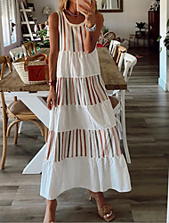 cheap -Women's Strap Dress Maxi long Dress White Sleeveless Color Block Summer Round Neck Casual 2021 S M L XL