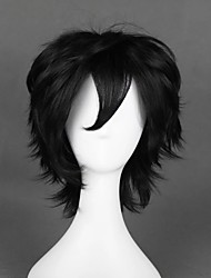 cheap -Cosplay Wig Luca Curly Cosplay Halloween With Bangs Wig Short Black Synthetic Hair 12 inch Men's Anime Cosplay New Design Black