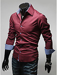 cheap -Men's Plus Size Solid Colored Basic Slim Shirt Business Daily Work Spread Collar Wine / White / Black / Light Blue / Spring / Fall / Long Sleeve