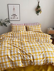 cheap -Gingham Plaid Geometric Checker Pattern Printed  Washed Cotton 4 Piece Duvet Cover Set