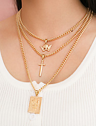 cheap -Women's Pendant Necklace Necklace Retro Butterfly Angel Classic Punk Trendy Hip Hop Chrome Gold 47 cm Necklace Jewelry 3pcs For Party Evening Street Birthday Party Beach Festival