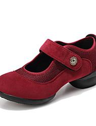 cheap -Women's Latin Shoes / Jazz Shoes / Dance Sneakers Mesh / PU / Synthetics Flat / Sneaker Flat Heel Dance Shoes Dark Red / Black / Green
