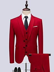 cheap -Tuxedos Tailored Fit / Standard Fit Notch Single Breasted Two-buttons Cotton Blend / Cotton / Polyester Solid Color