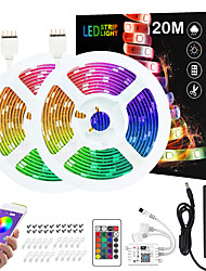 cheap -ZDM 2x10M 24V Intelligent Dimming App Control Flexible Led Strip Lights 5050 Waterproof RGB SMD 600 LEDs IR 24 Key Controller with Installation Package  Kit DC24V