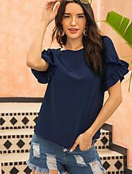 cheap -Women's Solid Colored Cartoon T-shirt Daily Wine / Blue / Yellow / Blushing Pink / Fuchsia / Green / Royal Blue
