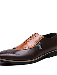 cheap -Men's Oxfords Business / Casual Daily Office & Career Walking Shoes Nappa Leather Breathable Shock Absorbing Wear Proof Black / Brown Color Block Spring / Summer