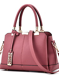 cheap -Women's Bags PU Leather Satchel Top Handle Bag Zipper Chain Solid Color Daily Handbags Messenger Bag Wine Black Blushing Pink Dark Purple