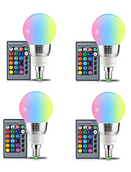 cheap -4pcs E27 LED Bulb 5W RGBW  White 16 Color LED Lamp AC85-265V Changeable RGB Bulb Light With Remote Control  Memory Function E14
