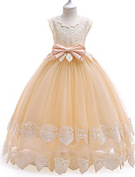 cheap -Princess / Ball Gown Ankle Length Wedding / Party Flower Girl Dresses - Tulle Cap Sleeve Jewel Neck with Bow(s) / Tier / Appliques