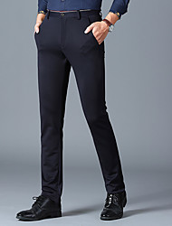 cheap -Black / Navy Blue Solid Colored Standard Fit Spandex / Polyester Suit - Notch No Buttons / Suits