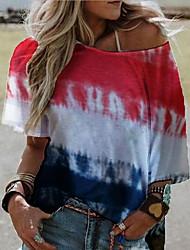 cheap -Women's T-shirt Tie Dye Tops Off Shoulder Daily Summer Blue Purple Red S M L XL 2XL 3XL 4XL 5XL
