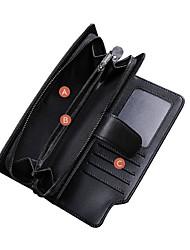 cheap -Men's Zipper PU Leather / Cowhide Clutch / Card & ID Holder / Coin Purse Black / Tri-fold