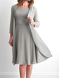 cheap -Two Piece A-Line Mother of the Bride Dress Wrap Included Jewel Neck Knee Length Chiffon Long Sleeve with Ruching 2020