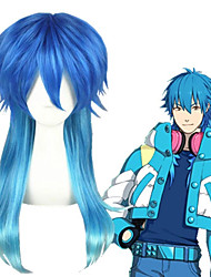 cheap -Cosplay Costume Wig Cosplay Wig Aoba Seragak Dramatical Murder Straight Cosplay Asymmetrical With Bangs Wig Medium Length Lake Blue Synthetic Hair 24 inch Men's Anime Cosplay Exquisite Blue