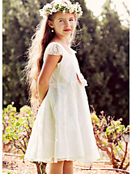 cheap -A-Line Knee Length Wedding / Party Flower Girl Dresses - Lace / Satin Cap Sleeve Jewel Neck with Lace