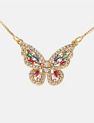 cheap -Women's Pendant Necklace Long Necklace Butterfly Romantic Sweet Fashion Cute Copper White Gold Silver 20 cm Necklace Jewelry For Party Evening Prom Birthday Party Beach