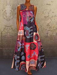 cheap -Women's Plus Size A-Line Dress Maxi long Dress - Sleeveless Geometric Print Summer V Neck Casual Holiday Vacation Loose Red Orange S M L XL XXL XXXL XXXXL XXXXXL
