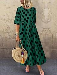 cheap -Women's A-Line Dress Maxi long Dress - Half Sleeve Leopard Summer Casual 2020 Red Yellow Green S M L XL XXL XXXL XXXXL XXXXXL