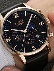 cheap -LIGE Men's Sport Watch Analog Quartz Modern Style Stylish Casual Water Resistant / Waterproof Day Date / Stainless Steel / Leather