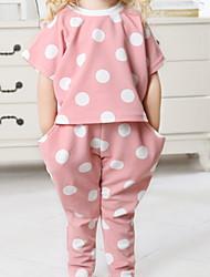 Недорогие -малыш Девочки Классический Горошек С короткими рукавами Обычный Набор одежды Белый
