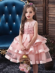 cheap -Princess / Ball Gown Knee Length Wedding / Party Flower Girl Dresses - Tulle Sleeveless Jewel Neck with Bow(s) / Appliques / Cascading Ruffles