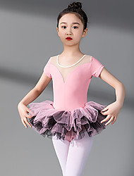 cheap -Ballet Dress Lace Split Joint Tiered Girls' Training Performance Short Sleeve High Spandex Lace Tulle