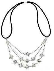 cheap -Women's Hair Jewelry For Birthday Festival Flower Pave Cubic Zirconia Cord Imitation Diamond White 1pc